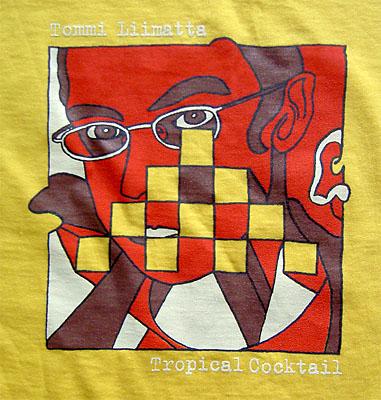 Keltaisen paidan etupuolella tyylitelty Tropical Cocktail -levyn kansi ... d6a0552b93