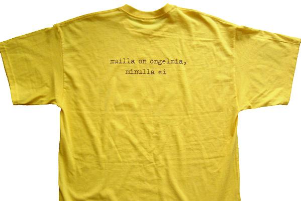 Keltaisen paidan etupuolella tyylitelty Tropical Cocktail -levyn kansi  (tarkempi kuva) ca22c6356b
